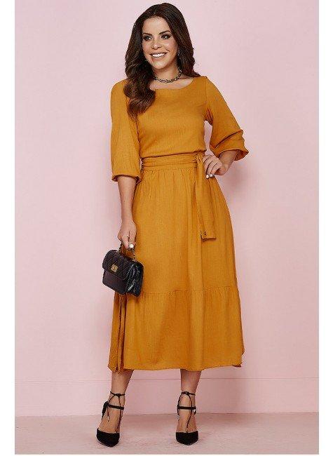vestido layane jany pim mostarda frente