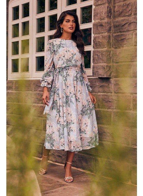 vestido mileide estampa exclusiva jany pim frente