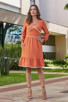 vestido katia cor telha jany pim frente