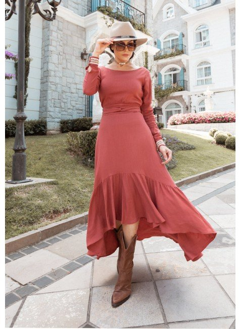 vestido aline na cor telha jany pim