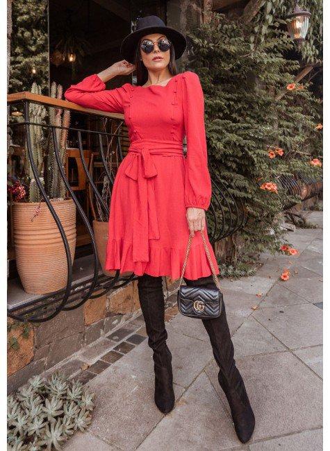 vestido patricia na cor vermelha jany pim