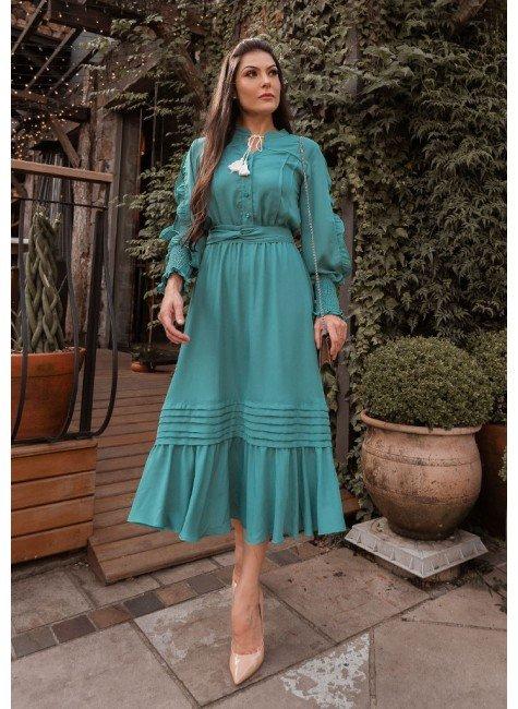 vestido anny gabriely na cor verde jany pim