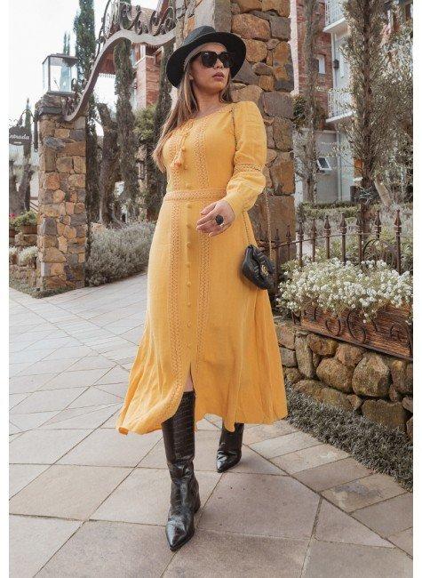 vestido bruna cor amarela frente jany pim