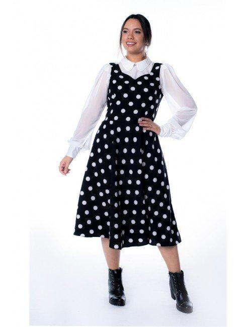 vestido bianca estampa poa jany pim